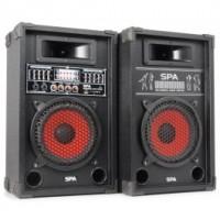 "SkyTecSPA800 PA Set d'enceintes actives 8"" SD/USB/MP3"