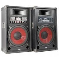 "SkyTecSPA1200 PA Set d'enceintes actives 12"" SD/USB/MP3"