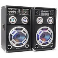 """SkyTecKA-12 A Set d'enceintes actives 12"""" USB/RGB LED 1200 W"""