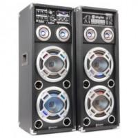 """SkyTecKA-210 Set d'enceintes actives 2x 10"""" USB/RGB LED 1600 W"""